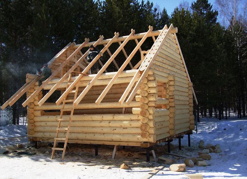 Строим баню на сваях